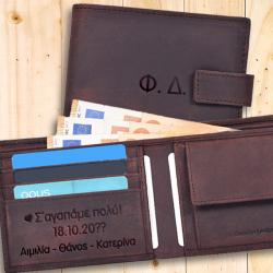Ανδρικό Δερμάτινο πορτοφόλι με Ονόματα, Μήνυμα