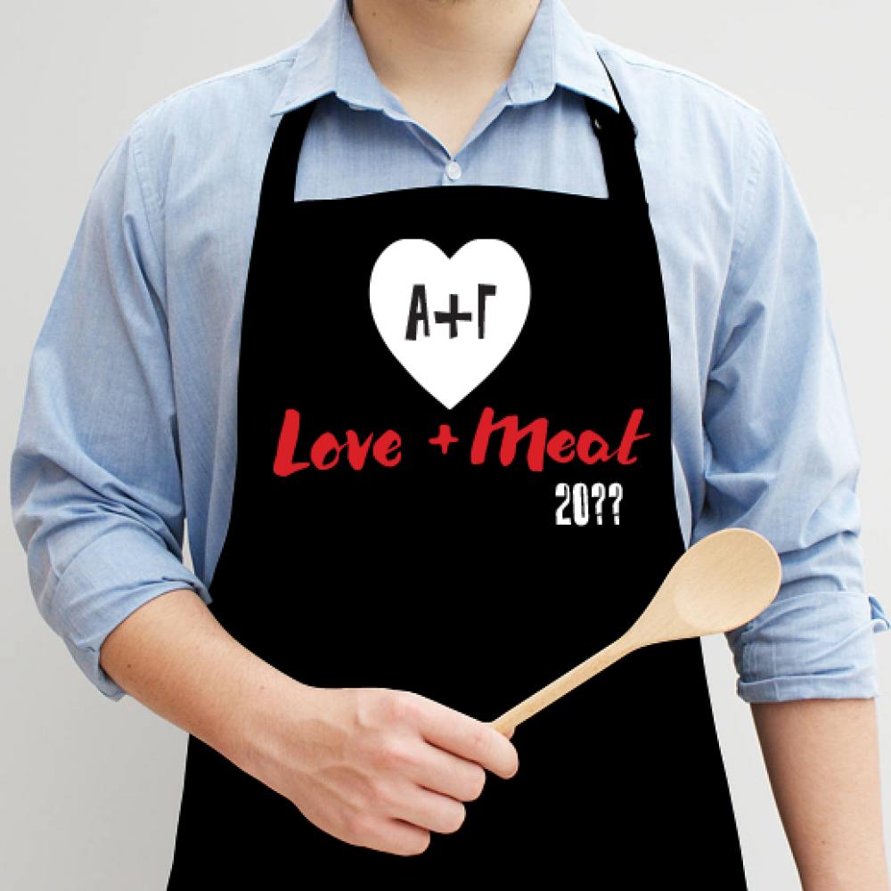 Ποδιά Κουζίνας με καρδιά αρχικά, meat & love