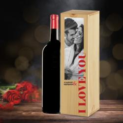 Με Φωτογραφία, Ονόματα & Love, Ξύλινο κουτί με Κρασί