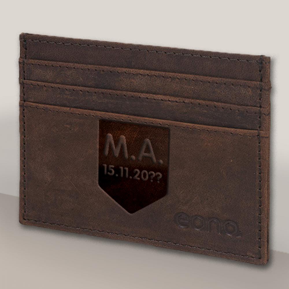 με Αρχικά Μονόγραμμα, θήκη για πιστωτικές κάρτες Δερμάτινη