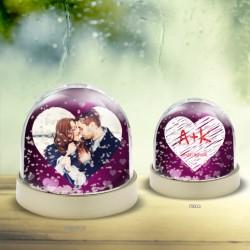 Χιονόμπαλα για Ερωτευμένους Προσωποποιημένο Παιχνίδι με Καρδιά
