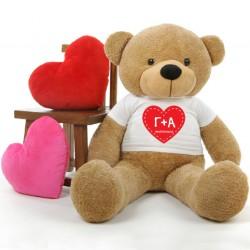 Αρκουδάκι 45cm ή 25cm καθιστό με Προσωποποιημένο tshirt με αρχικά