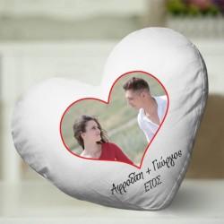 Διακοσμητικό Μαξιλάρι Προσωποποιημένο με φωτογραφία σε σχήμα καρδιάς
