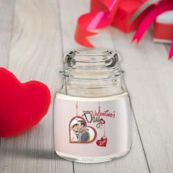 Κερί Προσωποποιημένο σε Γυάλινο Βάζο με Καπάκι Valentine's Day φωτογραφία