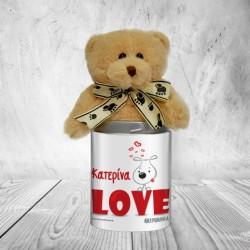 Αρκουδάκι Προσωποποιημένο Μεταλλικό Κουτί LOVE για Ερωτευμένους