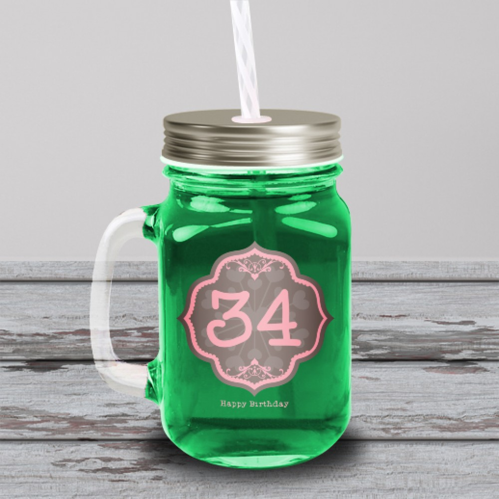 Προσωποποιημένο Βαζάκι – Ποτήρι με Καλαμάκι για Γενέθλια, Happy Birthday