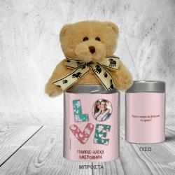 Προσωποποιημένο Μεταλλικό Κουτί με Αρκουδάκι, Love