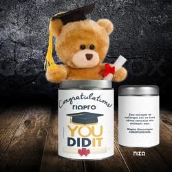 Congratulations Δώρο Αρκουδάκι σε Μεταλλικό Κουτί για Αποφοίτηση
