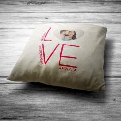 Μαξιλάρι Love Διακοσμητικό με Φωτογραφία, Ονόματα