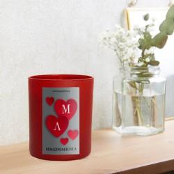 Kόκκινο Ποτήρι Κερί με καρδιές με αρχικά, ημερομηνία, μεταλλικη εκτύπωση