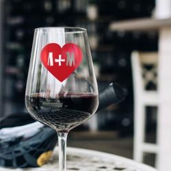 Γυάλινο Ποτήρι Κρασιού με Καρδιά με Αρχικά Προσωποποιημένο