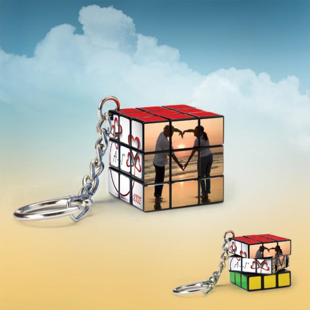 Μπρελόκ Κύβος Rubik προσωποποιημένος με φωτογραφία και αρχικά