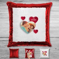 Μαξιλάρι με Παγιέτες, Φωτογραφία, Καρδιές, Διακοσμητικό με αρχικά