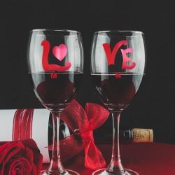 2 Γυάλινα Ποτήρια Κρασιού Love με Προσωποποιημένο Αρχικά