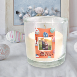 Κερί διαμέτρου 9 cm με Φωτογραφία, Μήνυμα, Ευχές για Πάσχα
