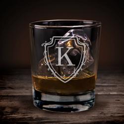 Ποτήρι Ουίσκι Προσωποποιημένο με Αρχικό σε ασπίδα