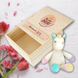 Ξύλινο Κουτί με Λούτρινο Μονόκερο, με Ευχές, Στοιχεία Μωρού