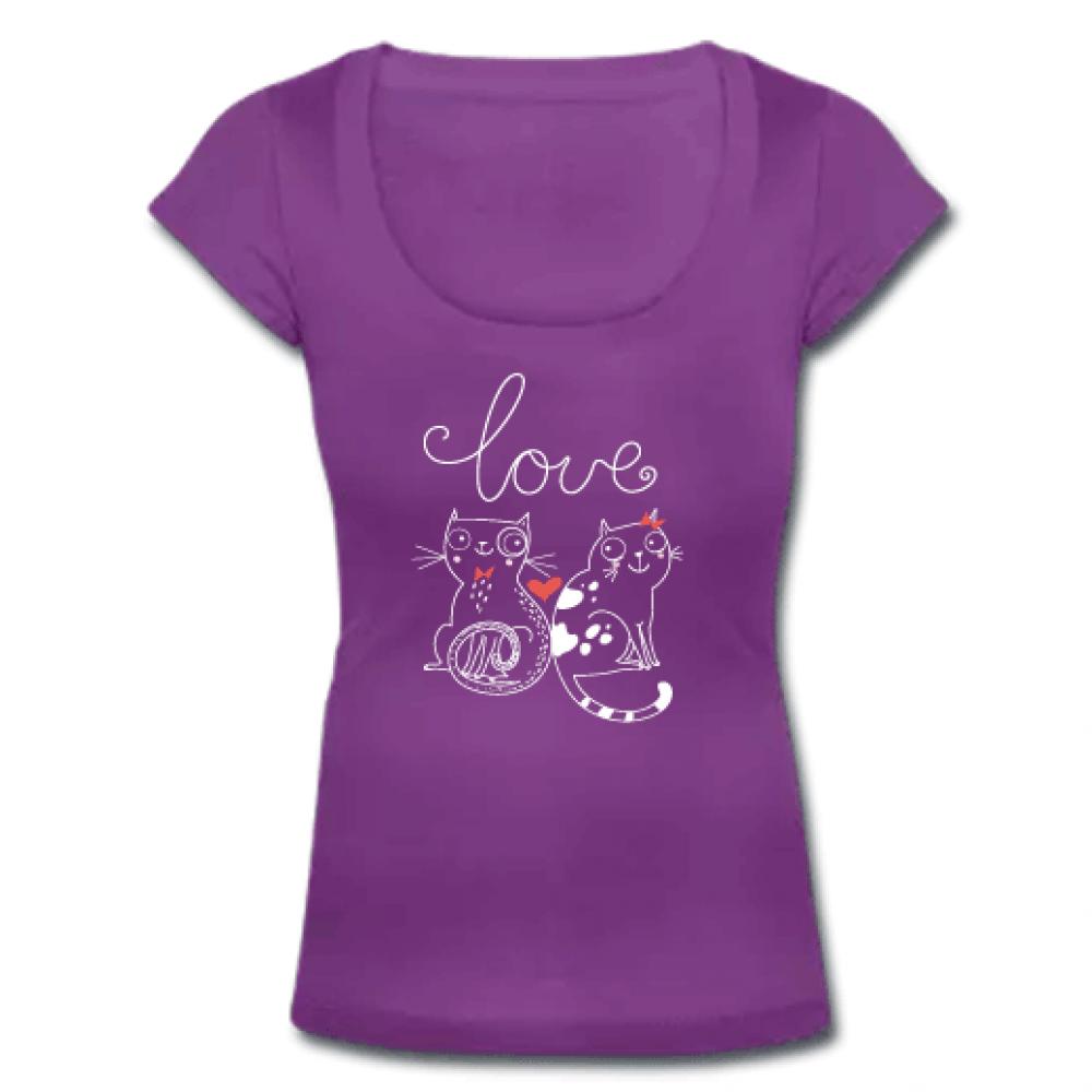 Μωβ Γυναικείο Tshirt με Ανοιχτό Λαιμό και Γατούλες
