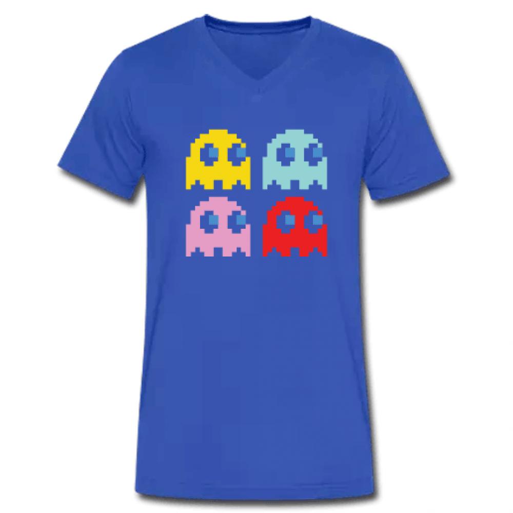 Μπλε Ανδρικό Tshirt με στάμπα PacMan με V