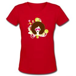 Κόκκινο Γυναικείο T-shirt με Λαιμόκοψη V και Στάμπα