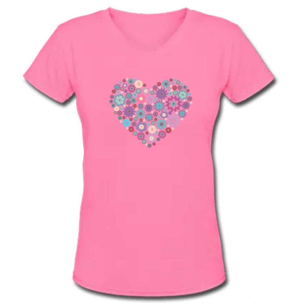 Ροζ Γυναικείο Μακό με Λαιμόκοψη V και Καρδιά