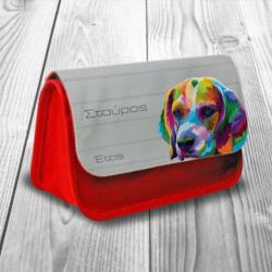 Κασετίνα με Πολύχρωμο Σκύλο Υφασμάτινη με Όνομα, Έτος