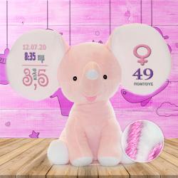 Ροζ Ελεφαντάκι με Κεντημένα Στοιχεία Γέννησης Μωρού