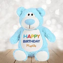 Happy Birthday με Όνομα κεντημένο σε Αρκούδο Cubbies