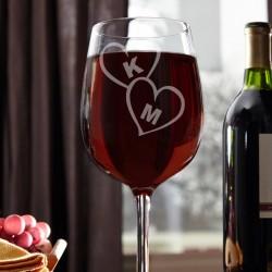 Με Αρχικά Γυάλινο Ποτήρι Κρασιού με Καρδιές