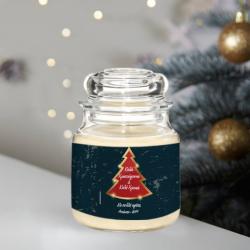 Γιορτινό Κερί σε Βάζο με Δενδράκι, Ευχές, Ονόματα, Έτος