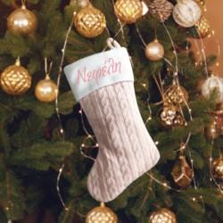 Ροζ Πλεχτή Χριστουγεννιάτικη Μπότα Διακοσμητική με Όνομα