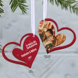 Στολίδι Καρδιά Ξύλινο με Φωτογραφία, Ευχές για δέντρο