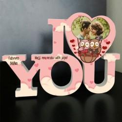 I Love you Διακοσμητικό με Ονόματα, Φωτογραφία, Ξύλινο
