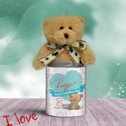 Προσωποποιημένο Αρκουδάκι Happy Valentines' Day, μπλέ