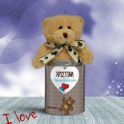 Προσωποποιημένο Αρκουδάκι, με Μπαλόνια Καρδιές