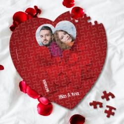 Παζλ κόκκινο σε σχήμα καρδιάς με Φωτογραφία, Ονόματα